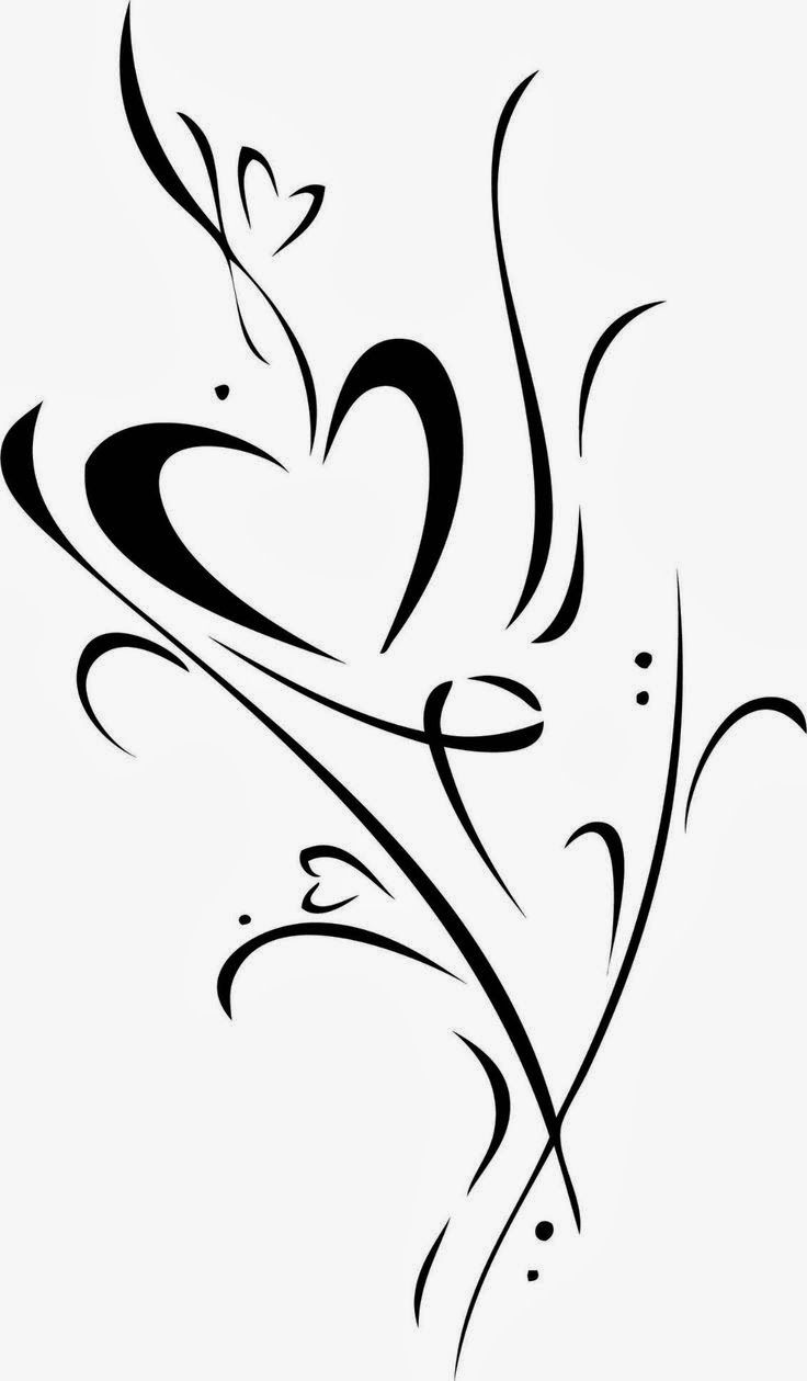heart vine design clip art to convert to cutting files pinterest tattoos and body art. Black Bedroom Furniture Sets. Home Design Ideas