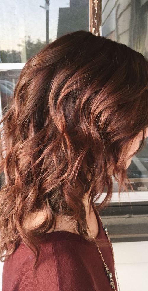 { Effortless auburn hair color for winter }