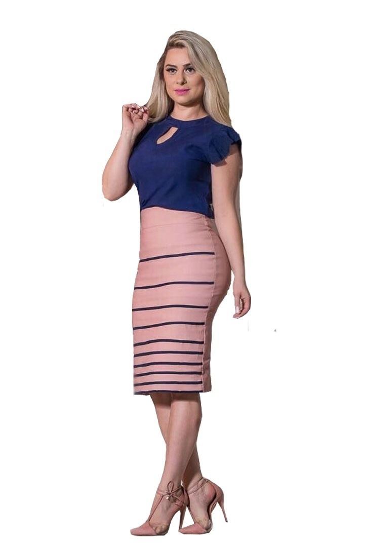 0c17ea6276fc conjunto saia midi lapis blusa gota feminina moda evangélica ...