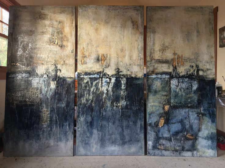 """New triptych for MT designers. 72"""" each. """"The Sum of All Her Choices"""". Encaustic & oils."""