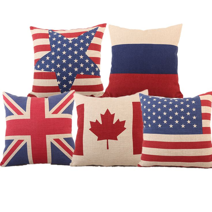 High Quality US UK Canada Russia National Flag Linen Cotton Cushion Cover For Sofa Car Bed Seat Pillow Case Modern Style Popular