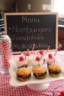 "Loving the ""milkshake"" cupcakes and the ""hamburger"" cupcakes!"