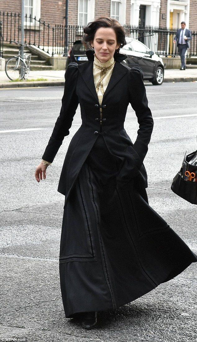 Spooky: Eva Green looked daunting as she swept through Dublin on Monday wearing an imposing costume while filming the third season of Penny Dreadful