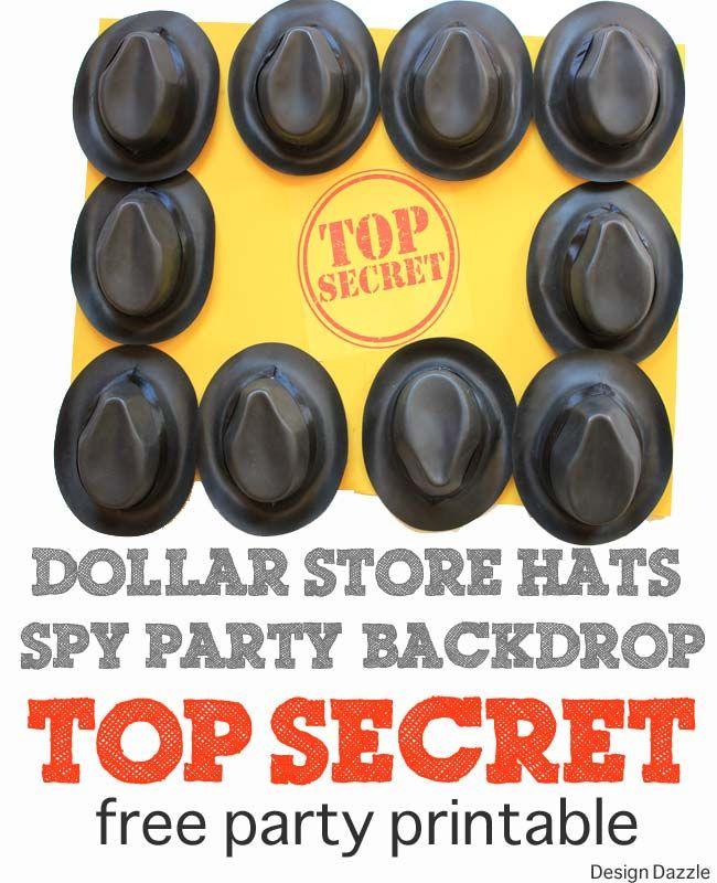 Top Secret Agent Spy Party Backdrop with free printable - Design Dazzle http://www.designdazzle.com/2014/04/top-secret-party-backdrop-free-printable/#spyparty #topsecretagent #freepartyprintable