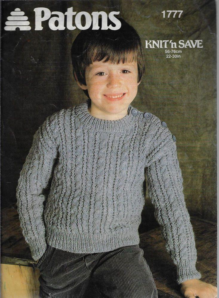 6dac5d867263f6 Child s Cable Aran Sweater Patons 1777 knitting pattern DK yarn winter   Patons
