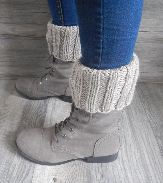 knit boot cuffs knit oatmeal leg warmers extra by LoveEweNatural