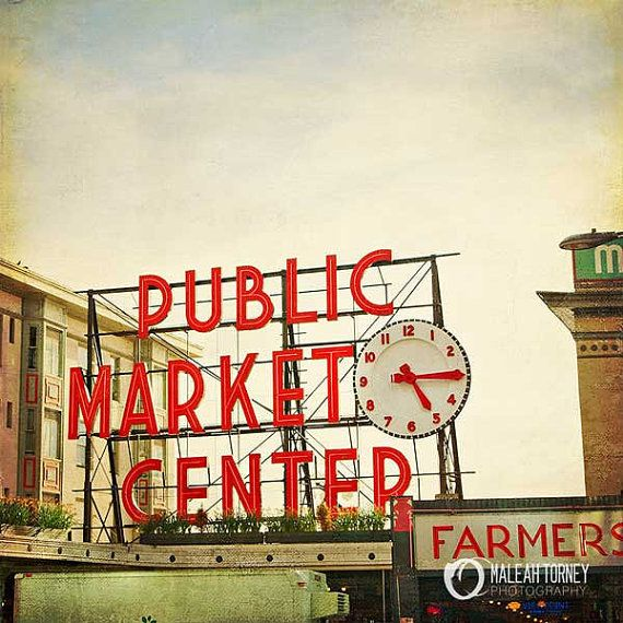 Pikes Market Seattle Travel Photography - red and beige clock, vintage wall art, urban city print, home decor - 8x8
