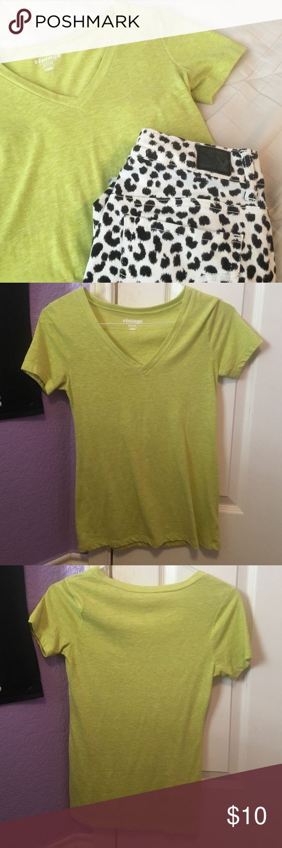 Lime Green V-Neck Lime Green v-neck from Old Navy. Used but in good condition. Also available in teal and pink in separate listings. Shorts in cover photo sold separately. PLEASE READ THE ENTIRE DESCRIPTION BEFORE PURCHASING! 🚫 NO TRADES. NO HOLDS. NO MERC@RI 🚫📩 I only respond to offers made through the offer button 📩  🙋🏼Questions? Just ask! Serious inquiries only please. EVERYTHING MUST GO!! 💁🏼 Old Navy Tops Tees - Short Sleeve