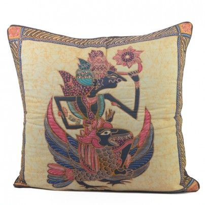 Home decoration: quilt pillow with shadow puppet wayang image