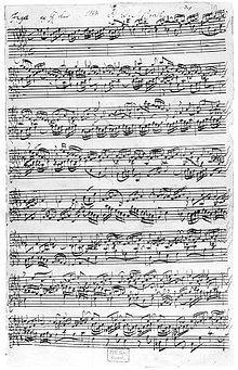 A flat major (As-dur) fugue from the second part of Das Wohltemperierte Clavier (manuscript)