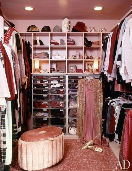 Streisand's collection of vintage clothing fills the house's closets, which are color coordinated by room—in this case, the master bedroom.