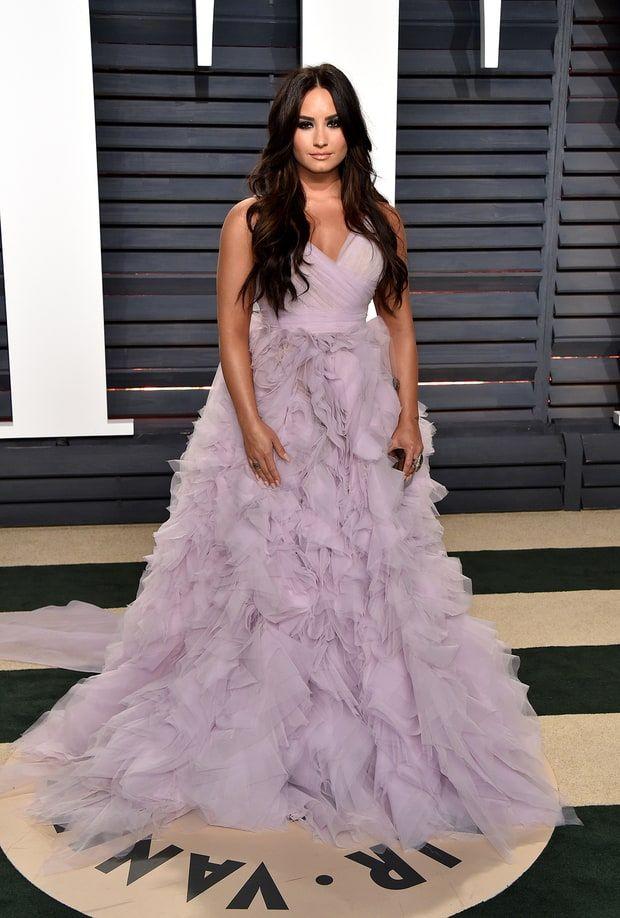 Demi Lovato In Monique Lhuillier – 2017 Vanity Fair Oscar Party