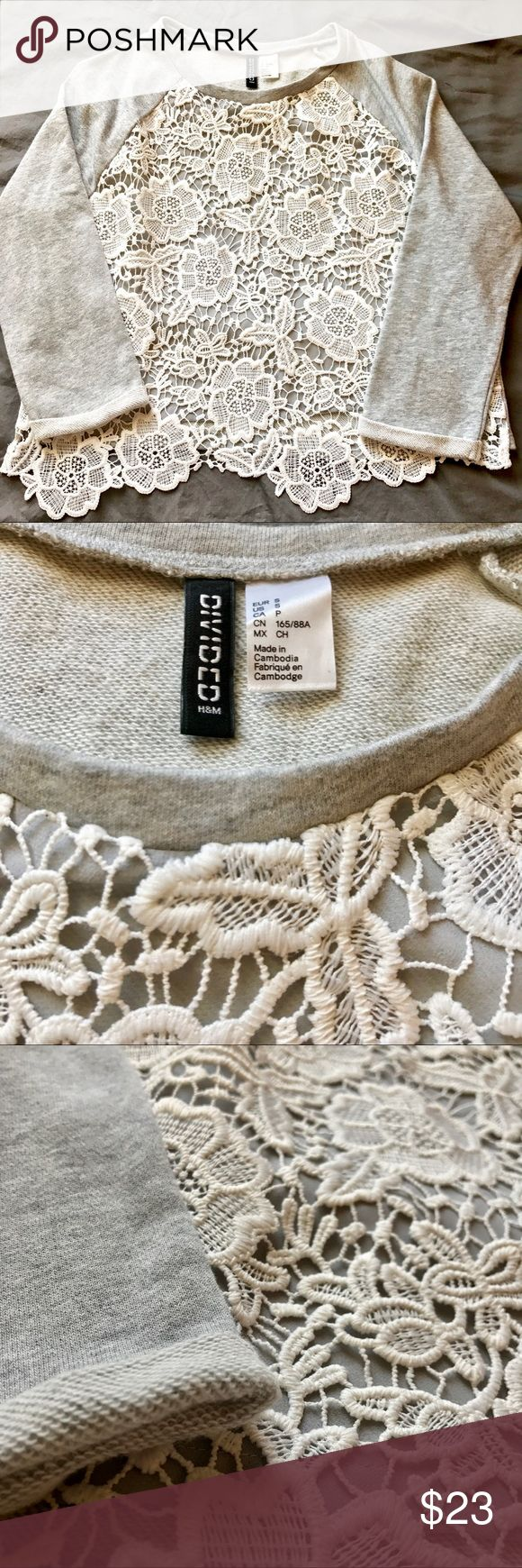 H&M DIVIDED Crochet Lace Top Very good condition! Just one teeny tiny stain on a flower that can most likely be removed (see pic). Size small. Measurements in photos. Divided Tops Blouses