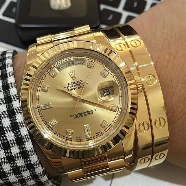 035157377e0 Stunning shot dripping in gold Rolex Day-Date and Cartier bracelets so hot!  by wristgamers  MensWatches