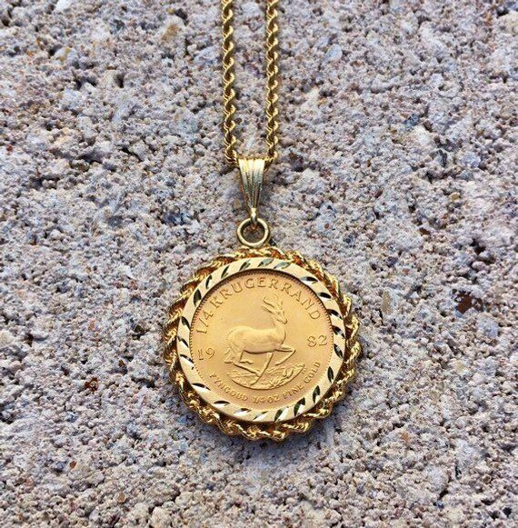 South Africa Krugerrand 1 4 Oz Fine Gold Coin Pendant Necklace Etsy Coin Pendant Necklace Gold Coin Necklace Coin Pendant