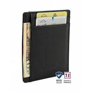 9aa5a895a54c Portefeuille ultra-plat en cuir pour homme   femme   enfant par Walden.  Porte-cartes et organiseur noir avec 4 fentes pour carte bancaire    technologie ...