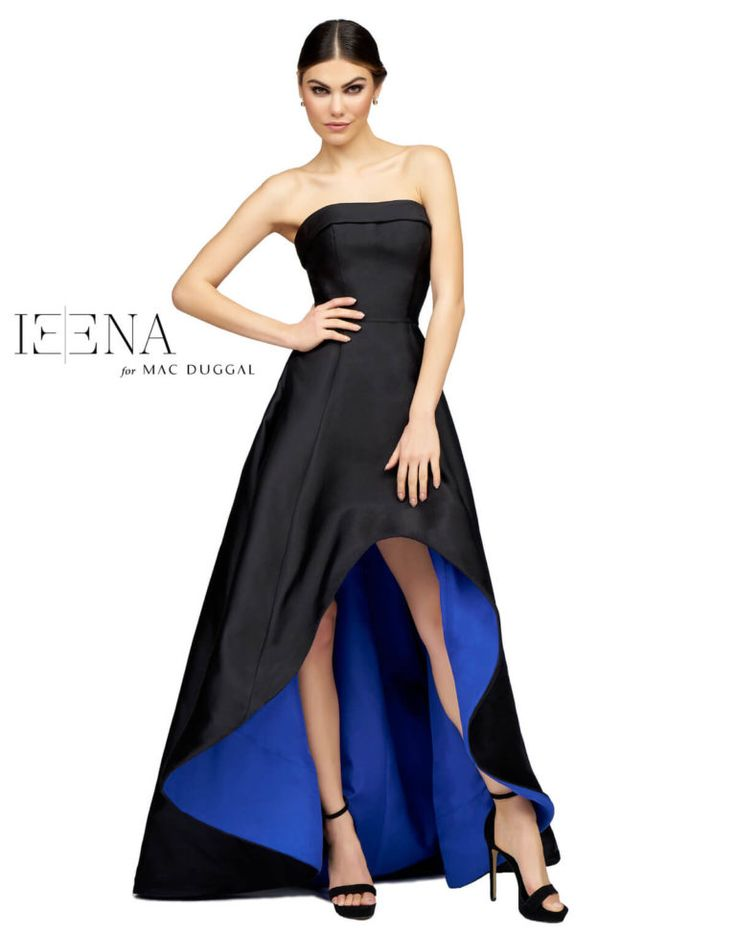 Strapless A-line with a high-low silhouette. A ball gown effect sweeping train brings out the glamour in this formal gown.  Choose between the emerald / black, royal / black, or daring red color.