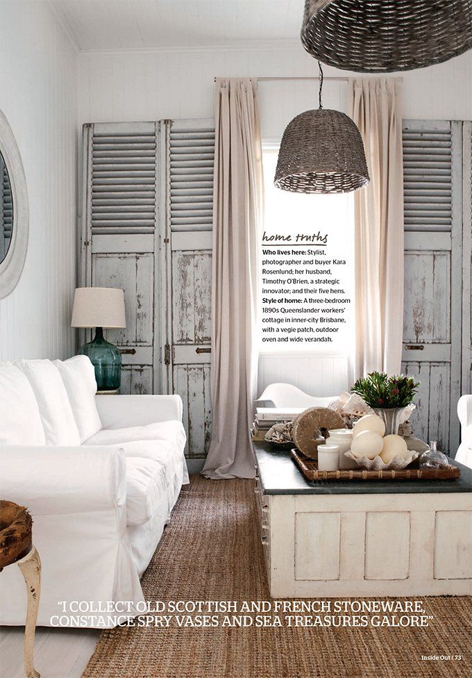 Gray and white lust: love the shutter/doors as wall treatment.