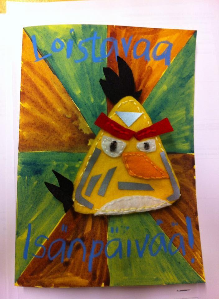 Loistavat Angry Birds -heijastimet isälle kortin kera (Al-ku-o-pet-ta-jat FB -sivustosta /Jonna Kemppainen)