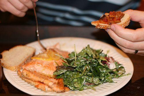 Honey-glazed salmon & arugula salad with lemon-pepper dressing