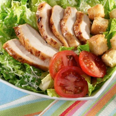 Chicken Caesar Salad - An all-time favorite is topped with lightly spiced chicken for an easy main dish salad.