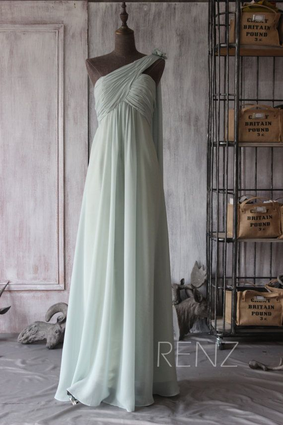 2015 Dusty Shale Bridesmaid dress One Shoulder Wedding by RenzRags