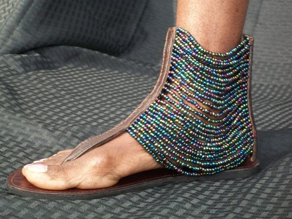 African Masai Beaded Sandals by CraftsByGertrude on Etsy, $60.00