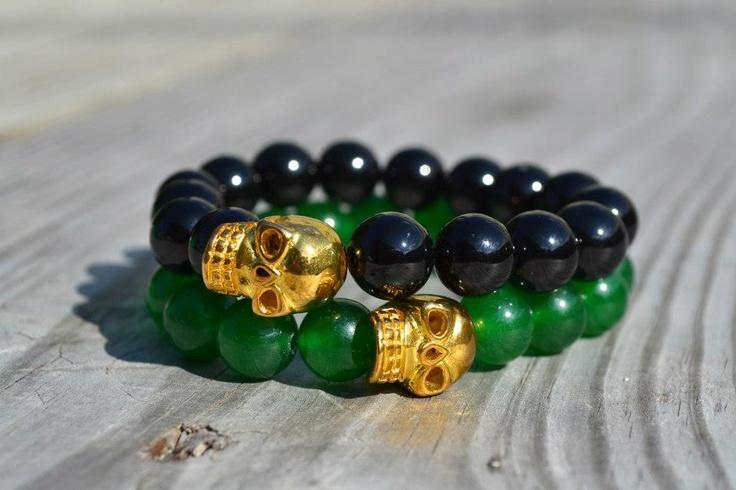 Perlas de Ágata Verde - Calavera Dorada