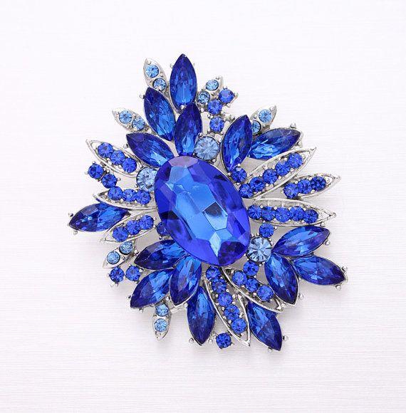 Royal Blue Wedding Broach Sapphire Blue Bridal by Crystalitzy