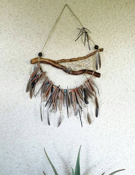 Unique Bohemian or gypsy decor dream catcher, boho, native, gypsy chic from recycle leather decor, leather wall art, leather garland