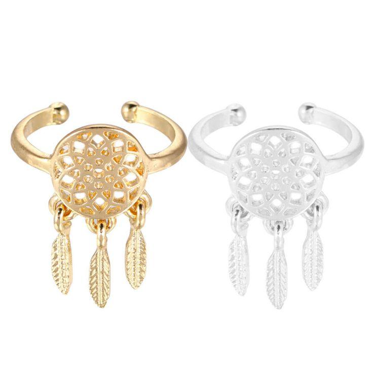 1 PC Women Lady Dreamcatcher Ring Feather Charm Pendant Dream Catcher Wish Ring Vintage