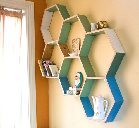 love these!: Ideas, Bees, Storage Shelves, Kids Room, Honeycombs Shelves, Design Sponge, Wall Shelves, Diy Projects, Cabinets Doors