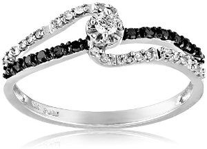 White Gold Black and White Diamond Promise Ring