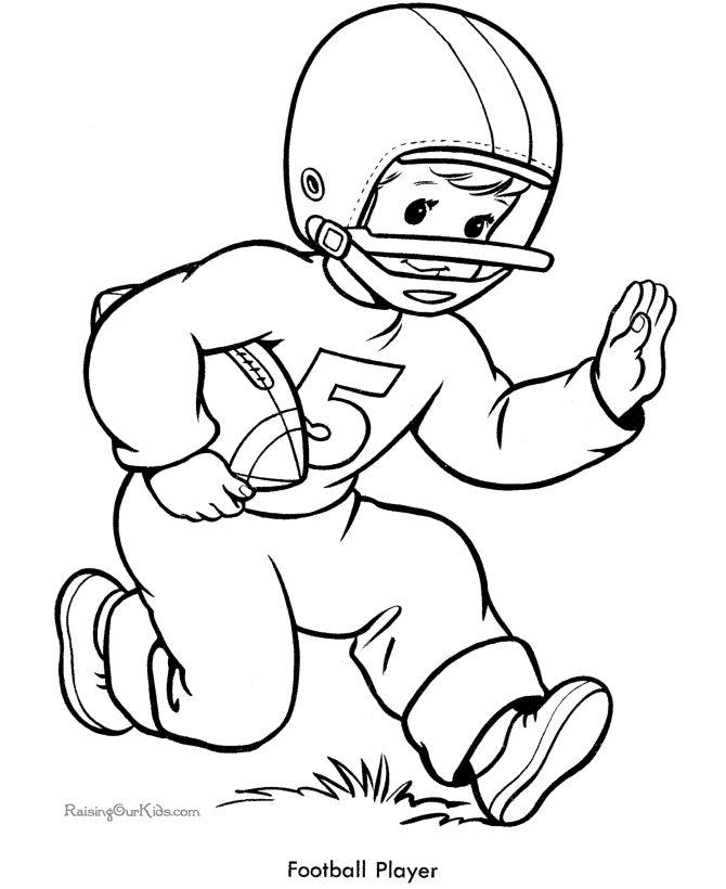 free printable football kids page to color