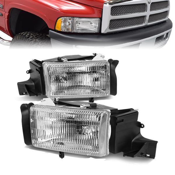94 02 Dodge Ram 1500 2500 3500 Headlights Chrome Housing Dodge Ram Dodge Ram 1500 Headlights