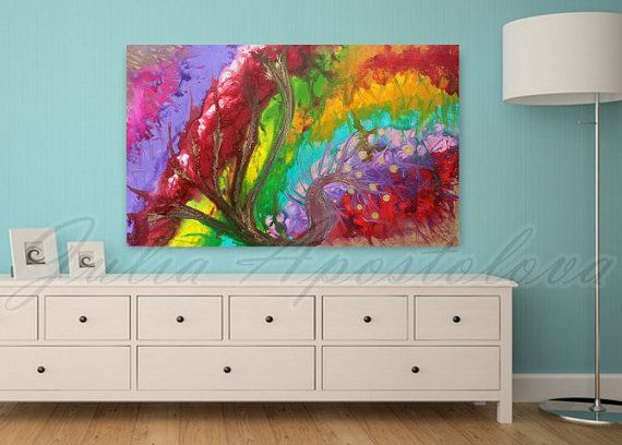 Check out Original Painting, Floral Abstract  Art,, Rainbow, Colorful Abstract Landscape, Large Painting, Modern Abstract, Turquoise, Pink, Zen, Tree on juliaapostolova