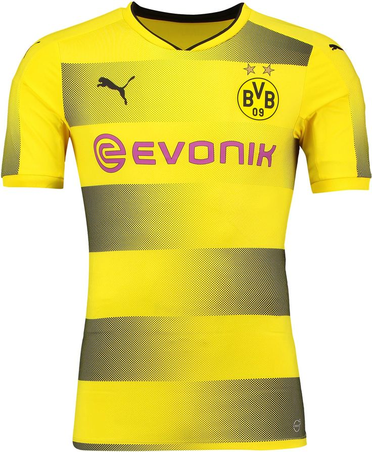 The Borussia Dortmund 2017-18 jersey features an outstanding hoop graphic.