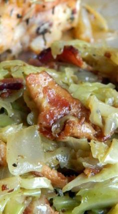 Fried Cabbage 1 bag shredded cabbage 3 to 5 slices of bacon 1 onion chopped 2 tablespoons butter Dash of apple cider vinegar Salt and pepper to taste