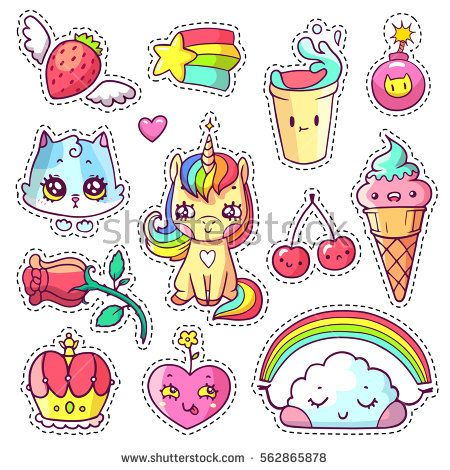 Stickers set in 80s-90s pop art comic style. Patch badges and pins with cartoon animals, food and things. Different emotions. Vector crazy doodles with unicorn, kitten, cloud with rainbow etc. Part 12