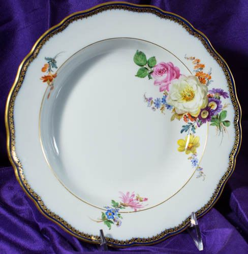 """Circle of Blue"" Captivating Set of Meissen Floral Soup Plates"