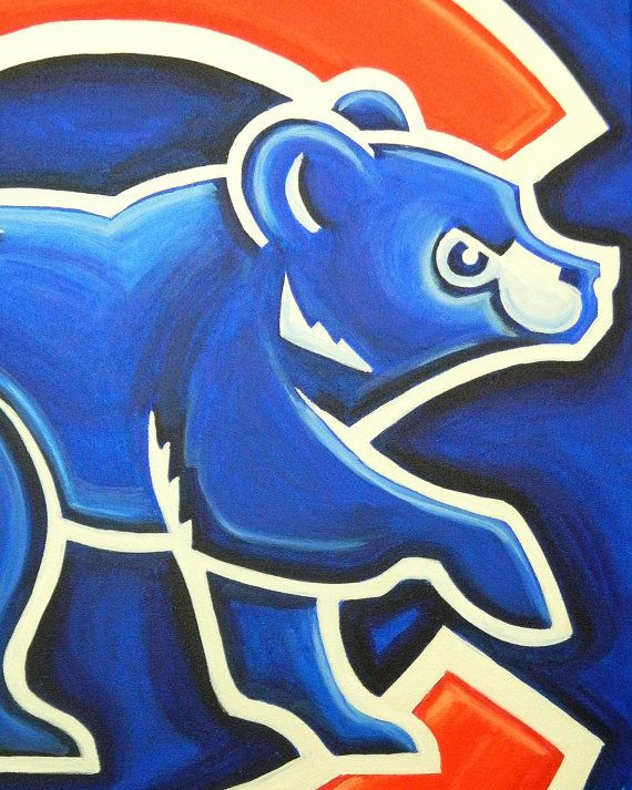 Chicago Cubs logo painting baseball sports art by crockerart, $50.00