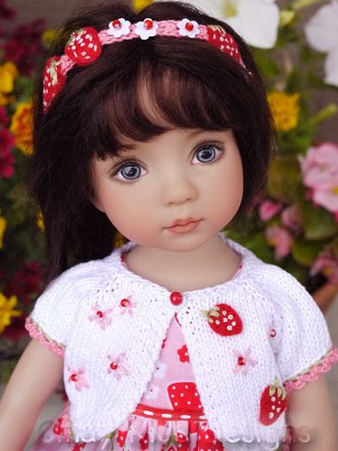 dianna effner doll dressed in cute strawberry outfit