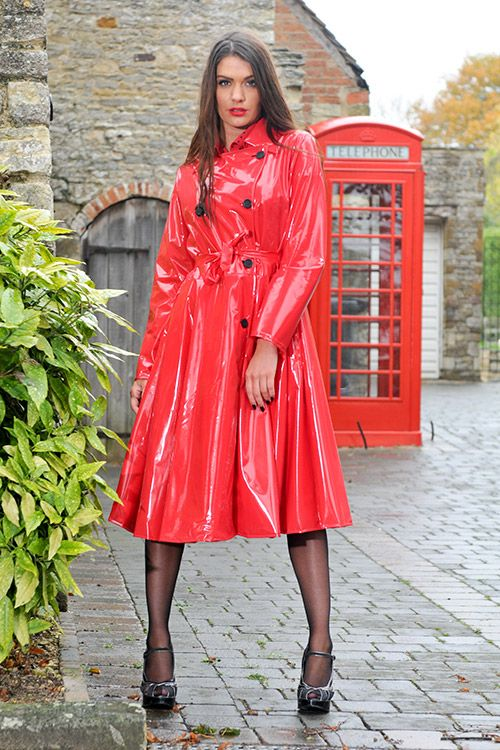 red pvc raincoat walking. Black Bedroom Furniture Sets. Home Design Ideas