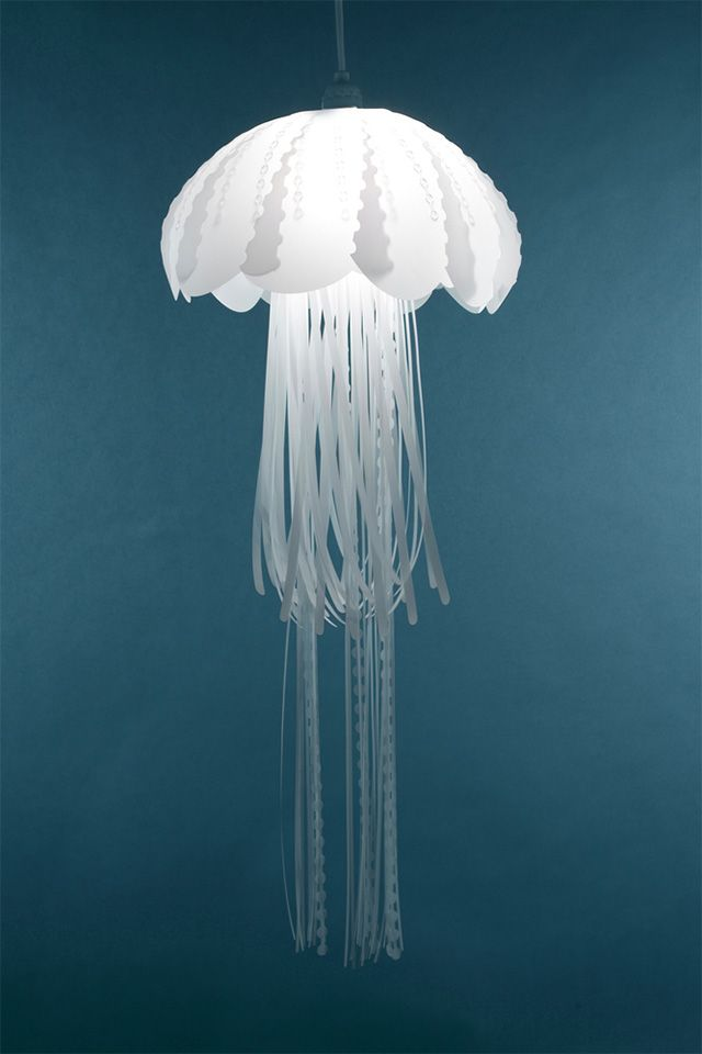 Created by California-based Roxy Russell, the Medusae Collection is a series of four pendant lamps designed to look like freshwater jellyfish. The lights are made from polyester mylar and measure nearly three feet in height.