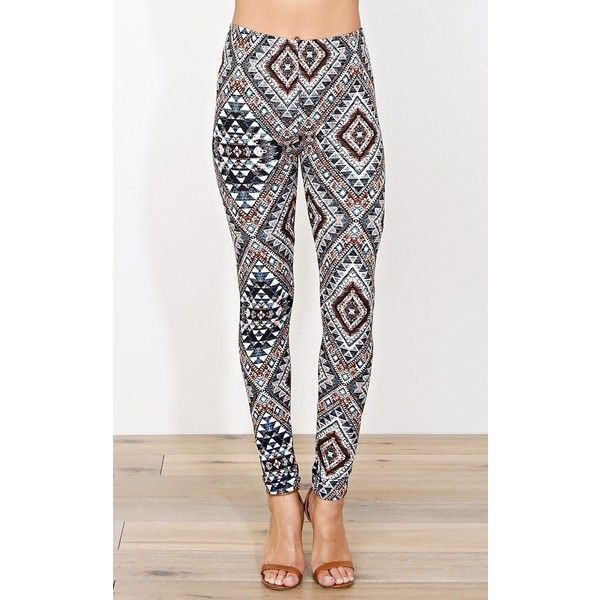 Mosaic Aztec Soft Knit Leggings ($9.99) ❤ liked on Polyvore featuring pants, leggings, brown comb, print leggings, lightweight pants, elastic waist knit pants, patterned pants and brown pants