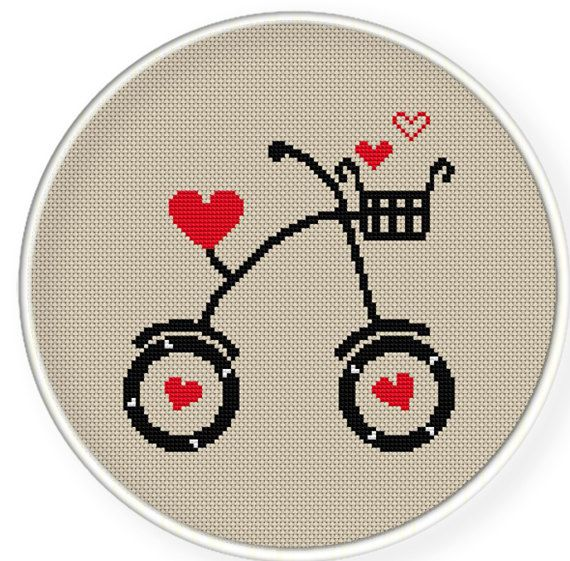 INSTANT DOWNLOAD,Free shipping,Cross stitch pattern, PDF,Black bike and heart ,zxxc0211