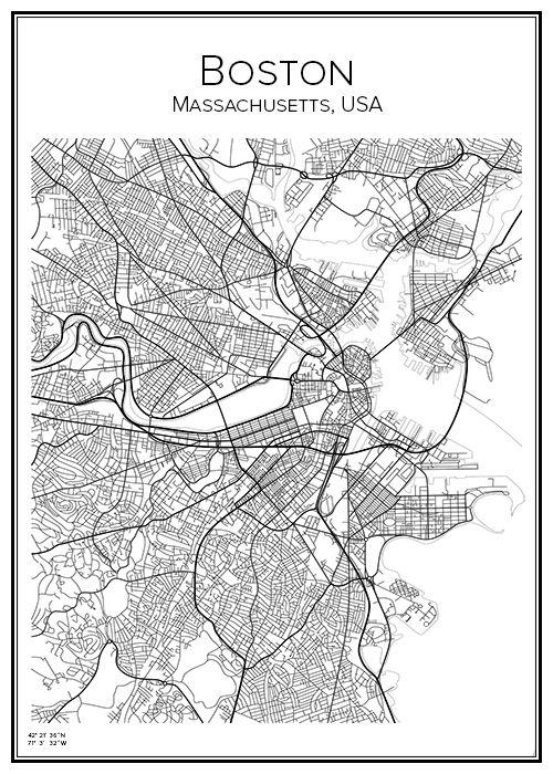 Boston. Massachusetts. USA. Map. City print. Print. Affisch. Tavla. Tryck.