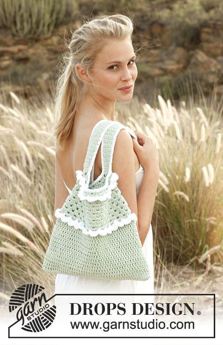 """Mintie / DROPS 147-42 - Crochet DROPS bag in """"Paris"""". - Free pattern by DROPS Design"""