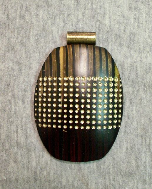 Polymer clay pendant focal bead - blend stripes texture dots gold mahogany | Flickr - Photo Sharing!