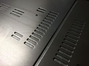 CNC punched ventilation slots using only standard CNC punch press tooling http://www.vandf.co.uk/blog/design-ideas-for-cnc-punching-sheet-metal-work-with-trumpf-punch-presses/